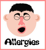 Allergy sneeze face Stock Image