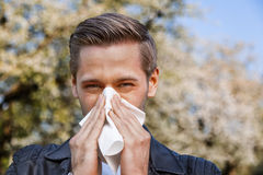 Allergy, Spring, Man. Man with allergy sneezing into handkerchief with blooming trees in background royalty free stock photo