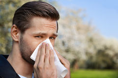 Allergy, Spring, Man. Man with allergy sneezing into handkerchief with blooming trees in background royalty free stock images