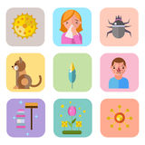 Allergy symbols disease healthcare tablets viruses and health flat label people with illness allergen symptoms disease Stock Photography