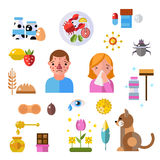 Allergy symbols and people disease information vector symbols Royalty Free Stock Images