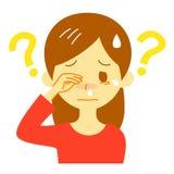 Allergy symptom, unknown cause, thinking woman. Illustration Royalty Free Stock Photo