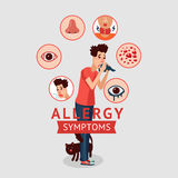 Allergy Symptoms Concept. With cough sneeze itching skin rash runny nose and sick sore eyes  vector illustration Stock Photography