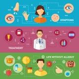 Allergy Symptoms Medical Treatment Horizontal. Allergy symptoms medical treatment relief and rescue three horizontal flat color banners  vector illustration Stock Image