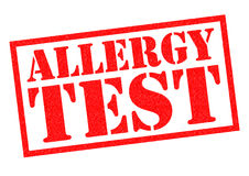 ALLERGY TEST. Red Rubber Stamp over a white background Stock Images