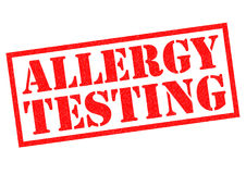 ALLERGY TESTING. Red rubber Stamp over a white background Royalty Free Stock Images