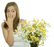 Allergy to flowers royalty free stock photo