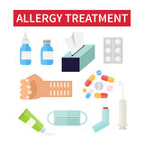 Allergy treatment and medical care Stock Image