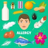 Allergy vector allergen food and allergic milk egg peanut and fish illustration of allergenicity set face of character. With rash skin  onbackground Stock Photo