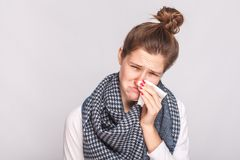 Allergy or virus concept. Closeup portrait of sick woman looking Stock Photo