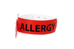 Allergy Warning Patient ID Band. A red patient ID band with the word allergy in black letters on white background. A concept for patient safety and precaution Stock Images