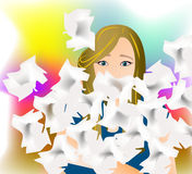 Allergy. Woman with allergy surrounded by many handkerchieves Stock Images
