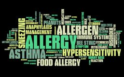 Allergy word cloud. Allergy - health concepts word cloud illustration. Word collage concept Royalty Free Stock Photos