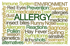 Allergy Word Cloud. On White Background Stock Images