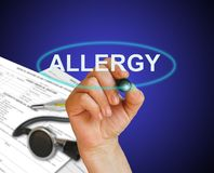 ALLERGY. Writing word ALLERGY with marker on gradient background made in 2d software Royalty Free Stock Images