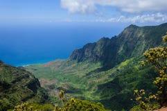 Allerta del ` u O Kila dell'unità di elaborazione sopra la valle di Kalalau in Kauai, Hawai Fotografie Stock