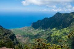 Allerta del ` u O Kila dell'unità di elaborazione sopra la valle di Kalalau in Kauai, Hawai Fotografia Stock