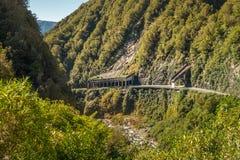 Allerta del viadotto di Otira, parco nazionale del passaggio del ` s di Arthur, Nuova Zelanda Fotografia Stock Libera da Diritti