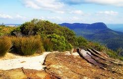 Allerta della frana di Viewfrom, montagne blu Fotografia Stock