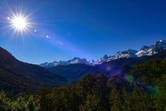 Allerta della valle di Hollyford che offre una vista scenica delle montagne della neve in Nuova Zelanda Fotografie Stock Libere da Diritti