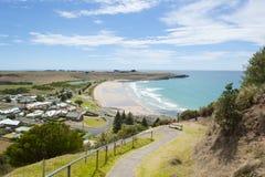 Allerta di Stanley Tasmania sopra la spiaggia dell'oceano Fotografie Stock