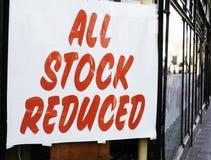 Alles auf lager verringerte Zeichen Lizenzfreie Stockfotografie