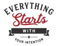 Alles begint met uw bedoeling stock illustratie