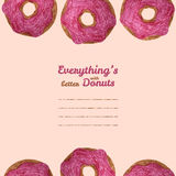 'Alles is beter het kader met van de donuts' tekst Doughnutillustratie Stock Foto