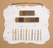 Alles Gute zum Geburtstag buchstabiert in der Art Satz Lizenzfreies Stockbild