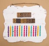 Alles Gute zum Geburtstag buchstabiert in der Art Satz Lizenzfreie Stockfotografie