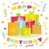 Alles Gute zum Geburtstag bunte girts mit Bändern und Sternen lizenzfreie abbildung