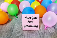 Alles Gute Zum Geburtstag Card with Balloons Stock Photo
