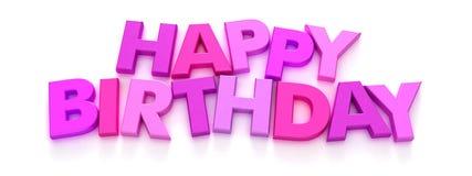 Alles Gute zum Geburtstag in den rosafarbenen Großbuchstaben Stockfotografie