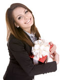 Alles Gute zum Geburtstag der Geschäftsdame. Lizenzfreie Stockfotos