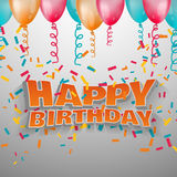Alles Gute zum Geburtstag des Textes des Vektors 3d Lizenzfreie Stockfotografie