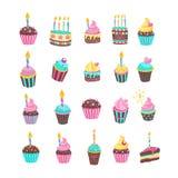 Alles Gute zum Geburtstag Die Kuchen und das Gebäck Stockfotos