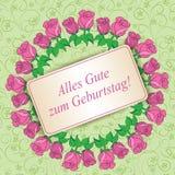 Alles gute zum Geburtstag - Gelukkige verjaardag - lichtgroene bloemen Stock Afbeelding