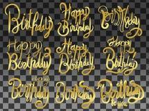 Alles Gute zum Geburtstag gesetztes Druckdesign Handgeschriebener moderner Bürstenbuchstabe vektor abbildung