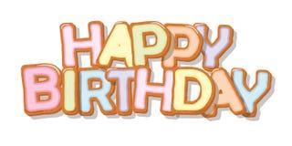 Alles Gute zum Geburtstag Gezeichnete Buchstaben der Kekskarikatur Hand Nettes Design für Kinder in den Pastellfarben Für Grußkar lizenzfreie abbildung