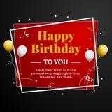 Alles Gute zum Geburtstag Gruß-Karte Elegante Berufsfahnenschablone Stockbild