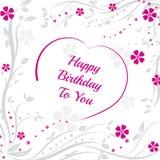 Alles Gute zum Geburtstag Hintergrund mit purpurrotem Herzen Lizenzfreie Stockbilder