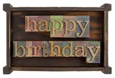 Alles Gute zum Geburtstag im Hhhochhdrucktypen Lizenzfreie Stockbilder