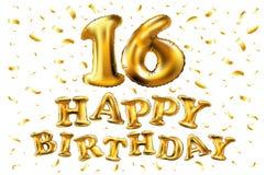 Alles Gute zum Geburtstag 16 Jahre Jahrestagsfreuden-Feier Illustration 3d mit glänzenden Goldballonen u. Freudenkonfettis für Ih Lizenzfreie Stockbilder