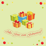 Alles gute zum Geburtstag - jasnozielony wektorowy kartka z pozdrowieniami Zdjęcia Stock
