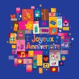 Alles Gute zum Geburtstag Joyeux Anniversaire auf französisch Lizenzfreies Stockbild