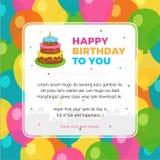 Alles Gute zum Geburtstag Kartenschablone mit buntem Ballonhintergrund Lizenzfreies Stockbild