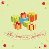 Alles gute zum Geburtstag - lichtgroene vectorgroetkaart Stock Foto's