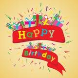 Alles Gute zum Geburtstag mit buntem Geschenk auf gelbem Hintergrund Alles Gute zum Geburtstag des Vektors auf Parteihintergrund Stockfotos