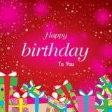 Alles Gute zum Geburtstag mit buntem Geschenk auf rotem Hintergrund Alles Gute zum Geburtstag des Vektors auf Sternhintergrund Lizenzfreie Stockbilder