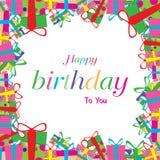 Alles Gute zum Geburtstag mit dem bunten Geschenk lokalisiert auf weißem Hintergrund Stockbilder